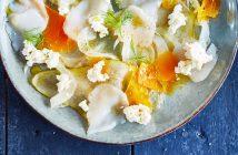 recette sans cuisson, caparcccio de vieille mimolette et saint-jaques